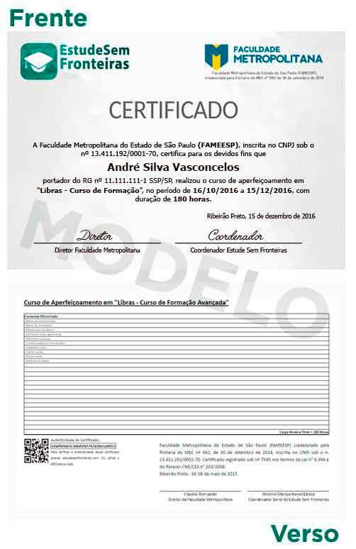 Certificado é emitido por uma Instituição de Ensino Superior credenciada pelo Ministério da Educação (MEC)